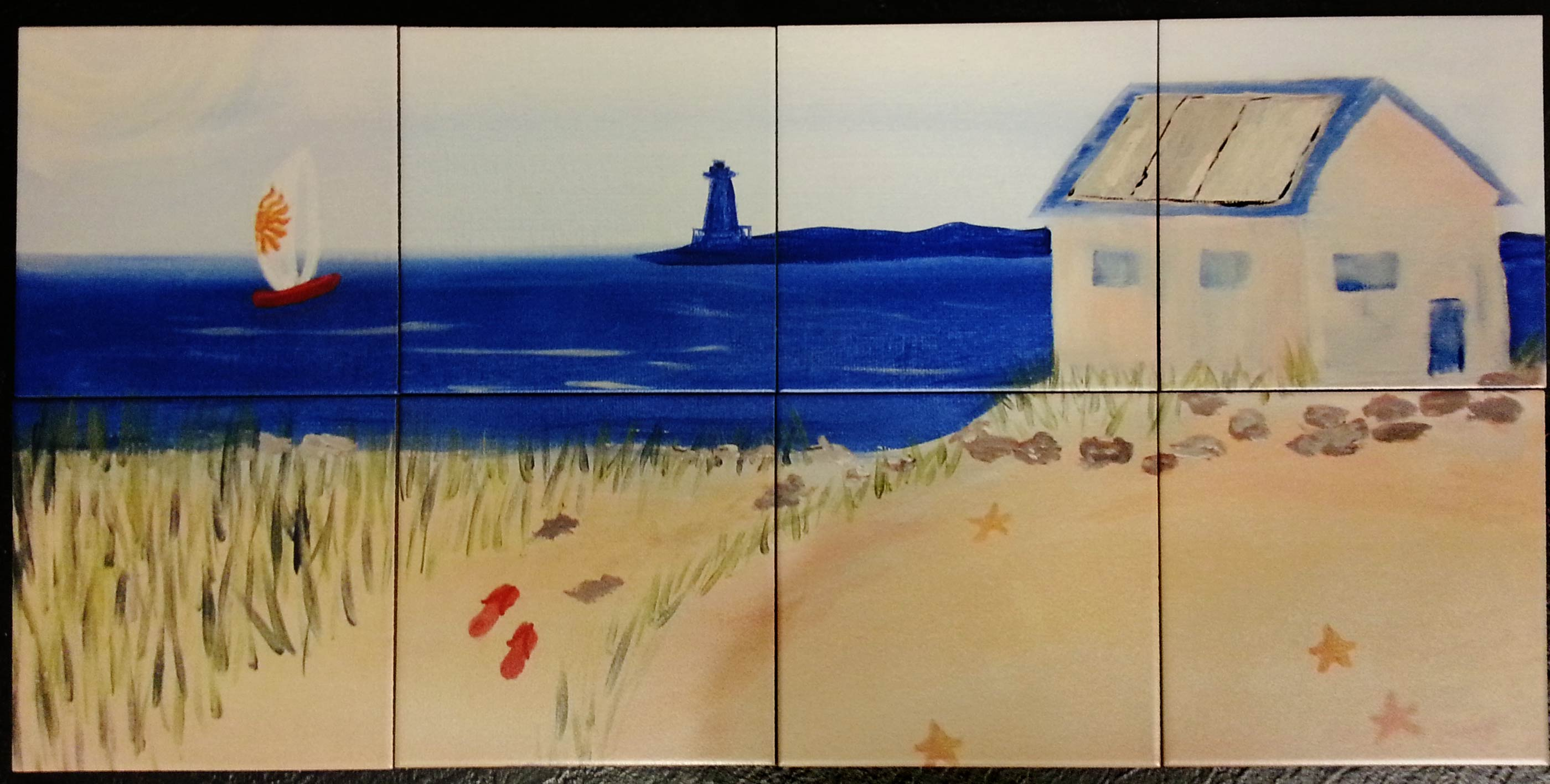 Beach Painting Custom Tile Mural Backsplash