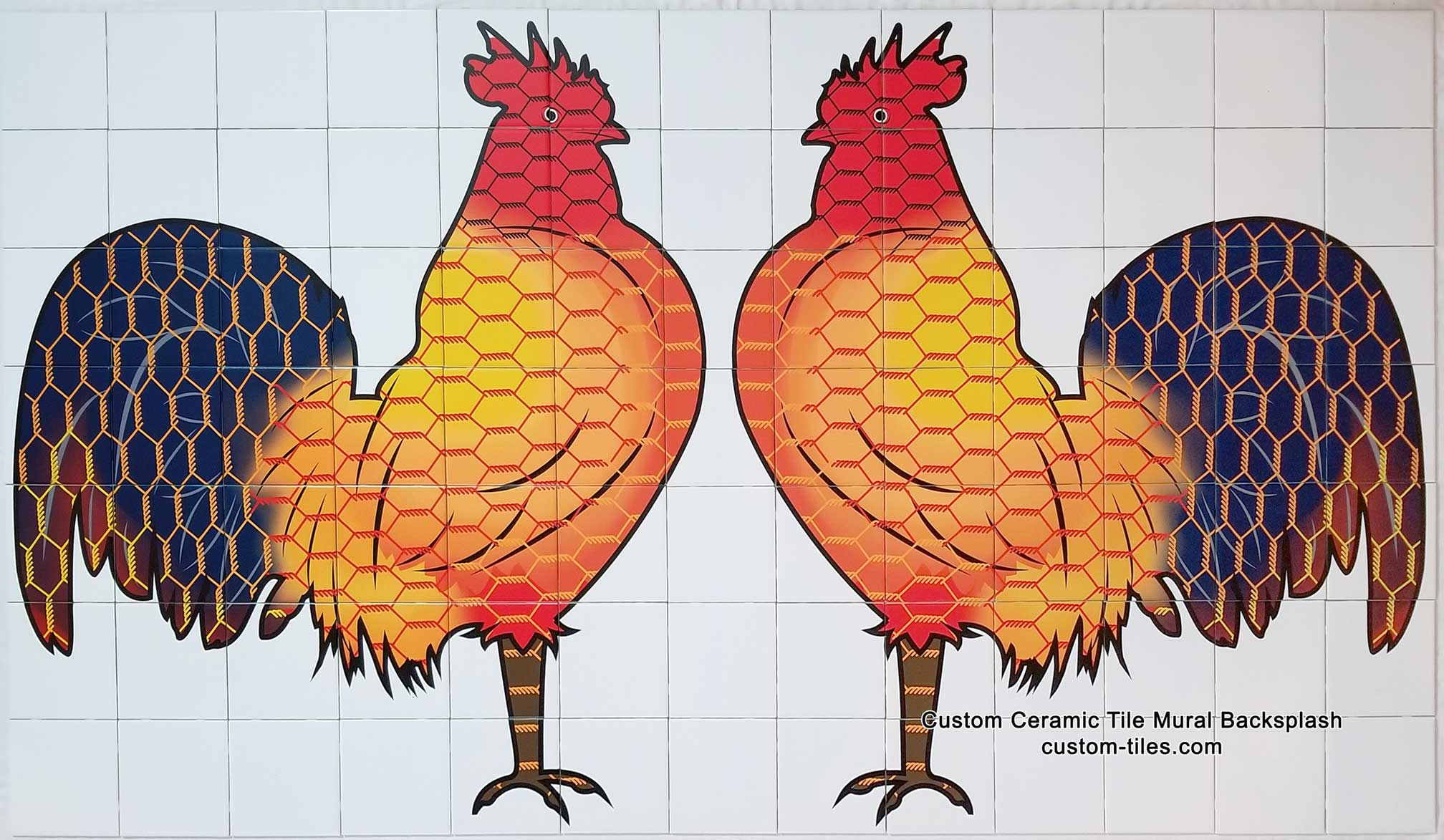 Chickens Custom Ceramic Tile Mural Backsplash