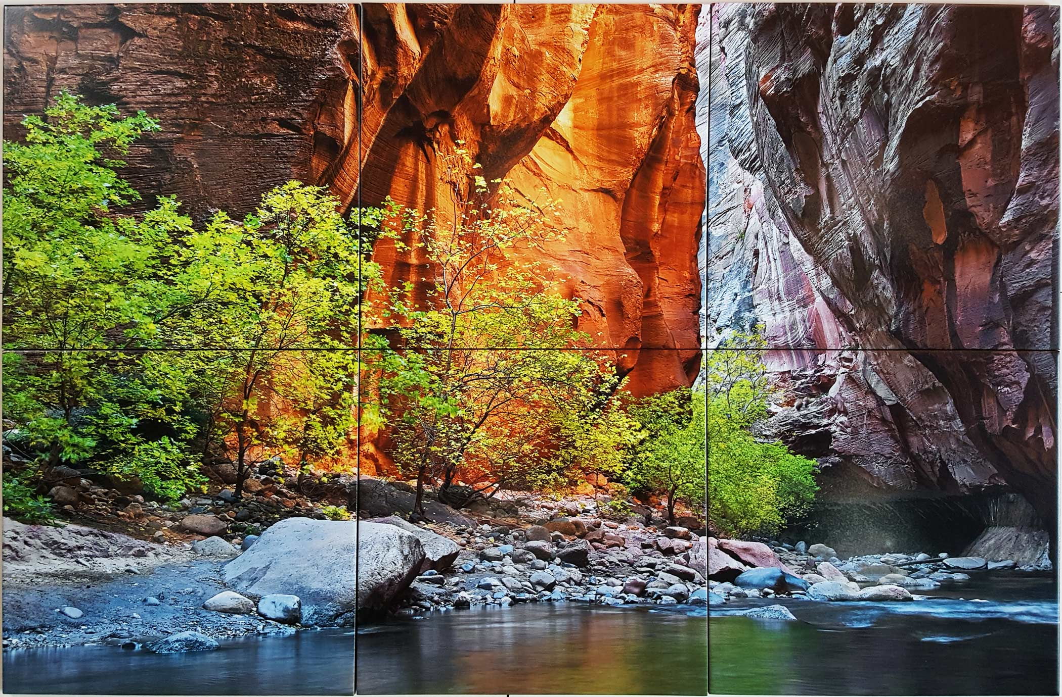 Chiseled Rocks & Water Photo Tile Mural, CS Lanz