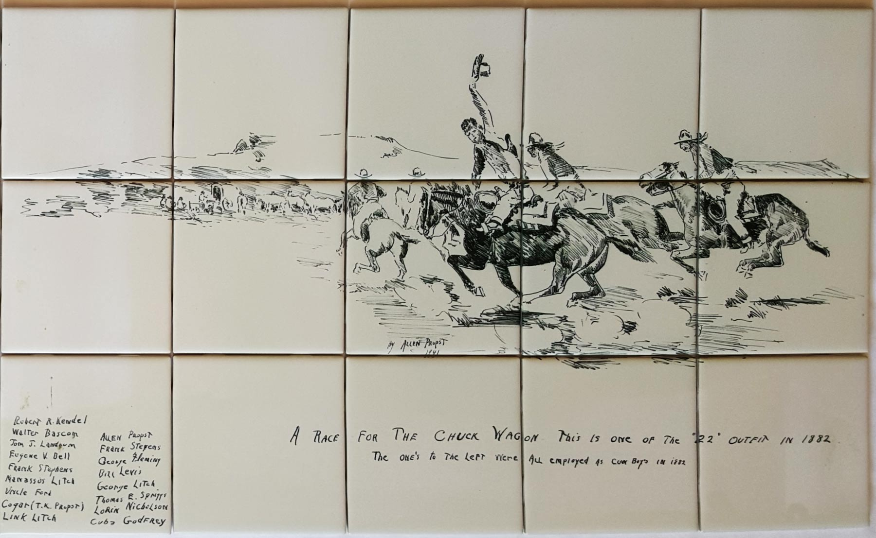 Cowboy Sketch Ceramic Backsplash Tile