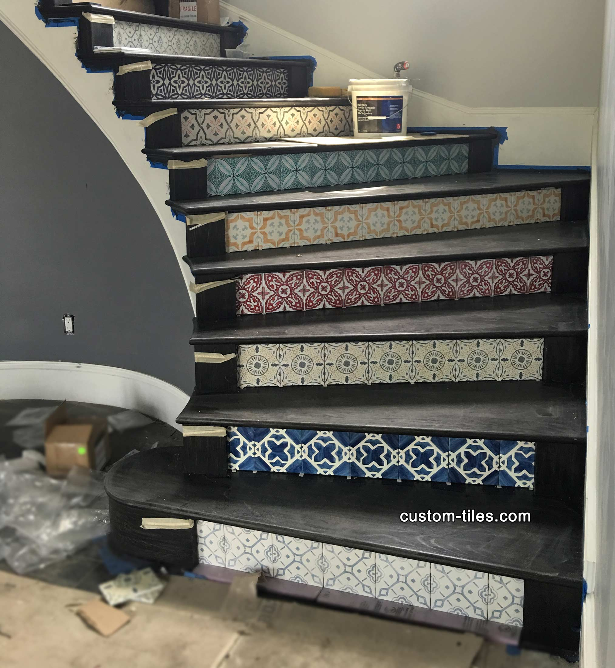 Decorative Custom Printed Tile Stair Risers