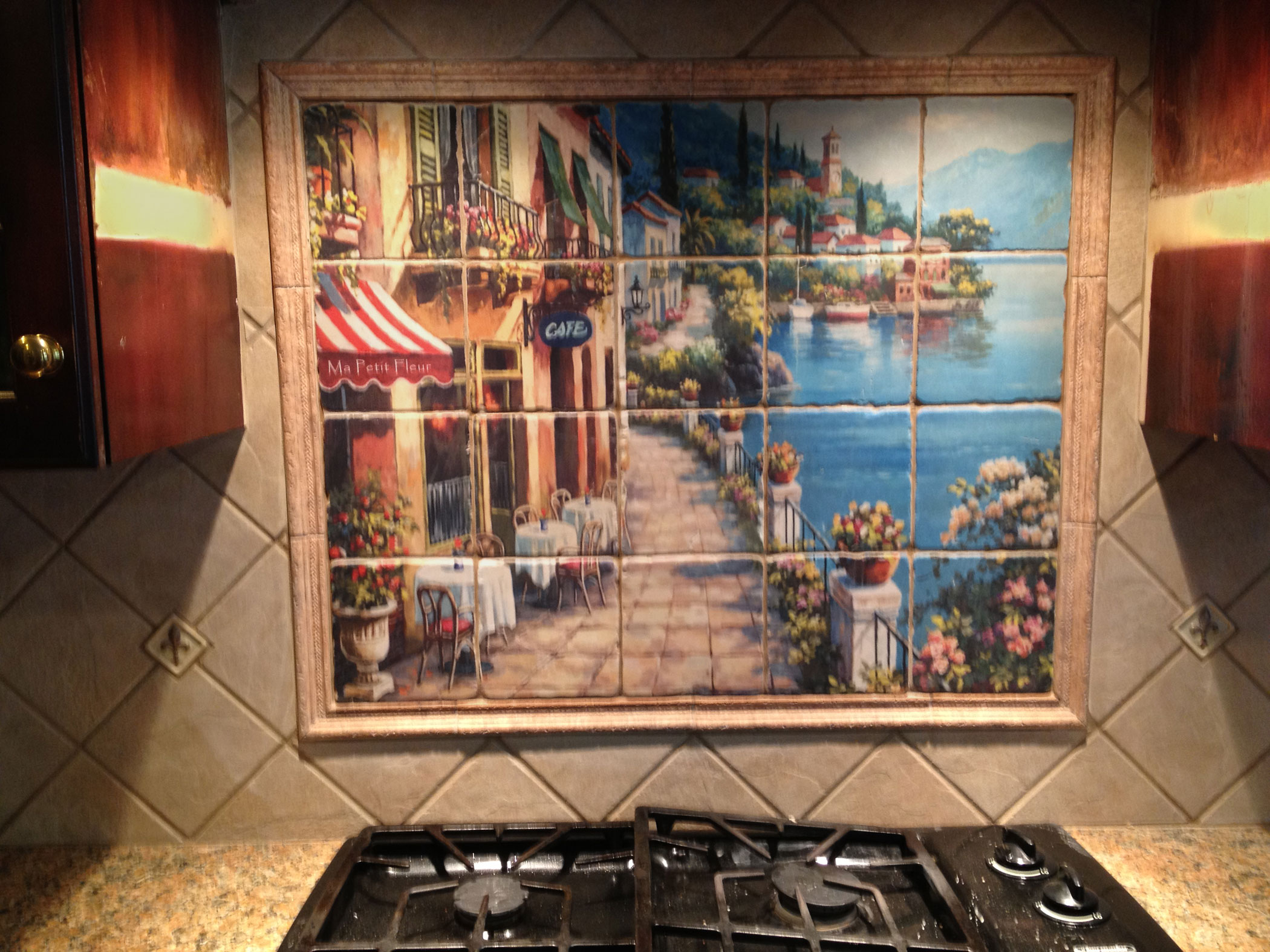 Tile murals backsplash kitchen tile murals backsplash for Custom mural tiles
