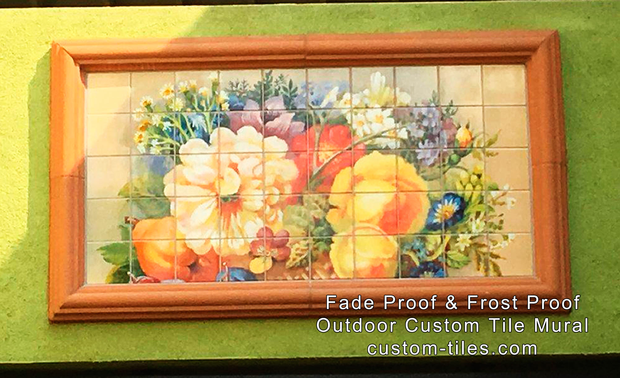 Floral Painting Kiln Fired Outdoor Tile