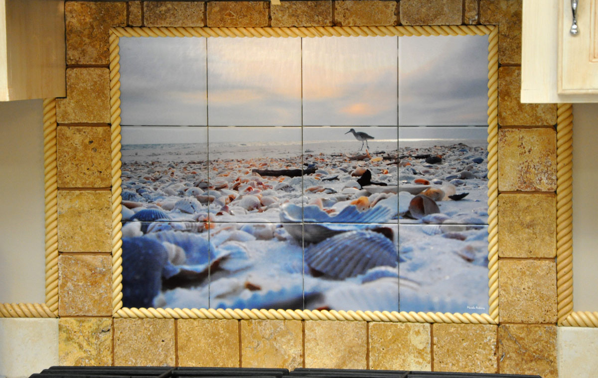 Florida Beach Photo Tile Backsplash