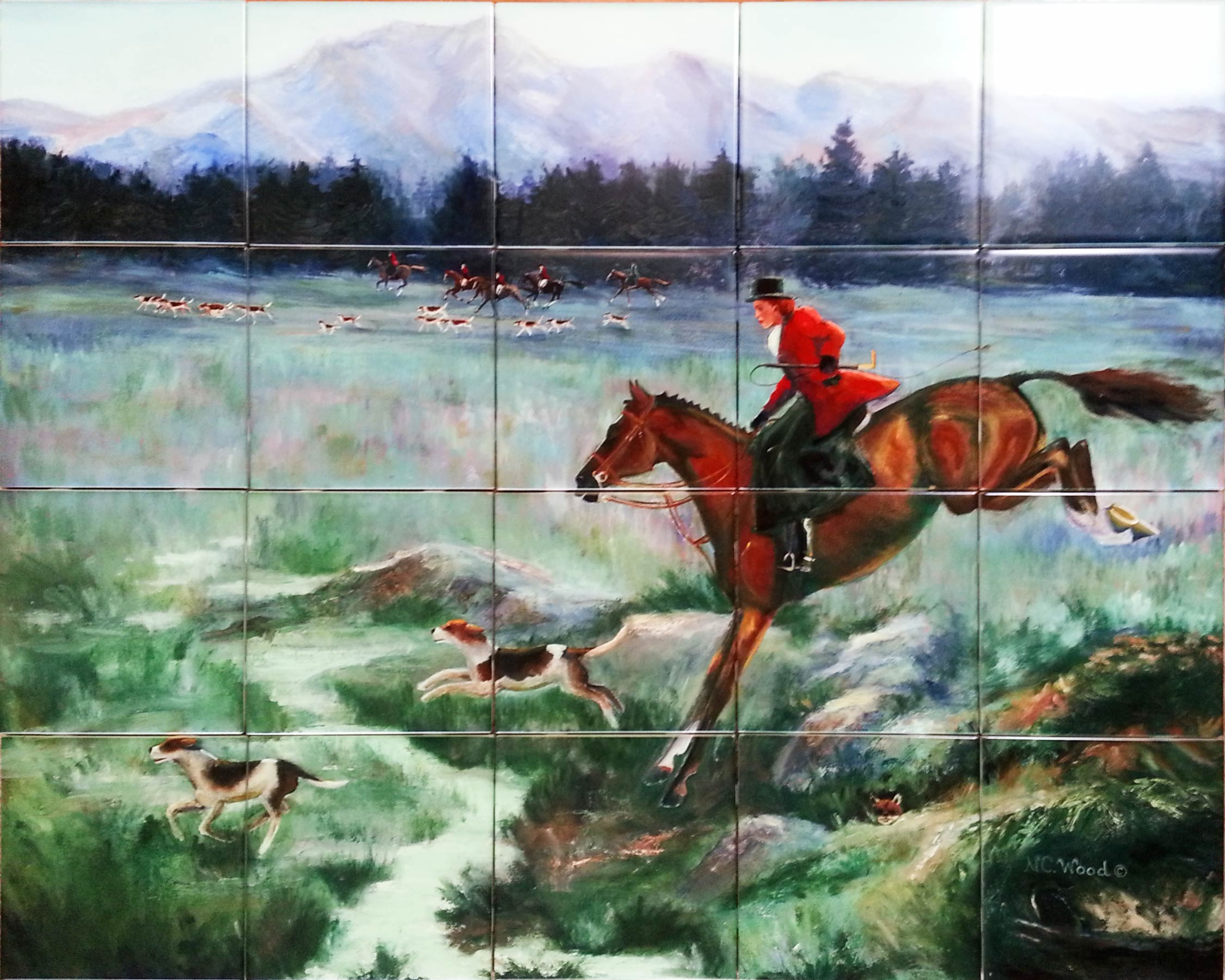 Fox Hunt Ceramic Tile Backsplash Mural