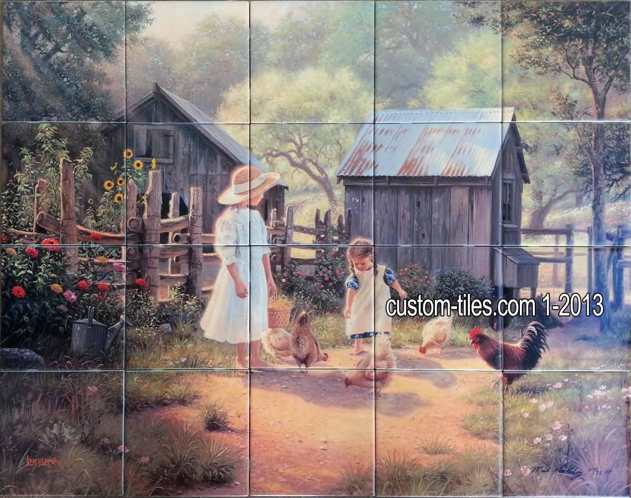 Grandmas Barnyard Ceramic Tile Mural