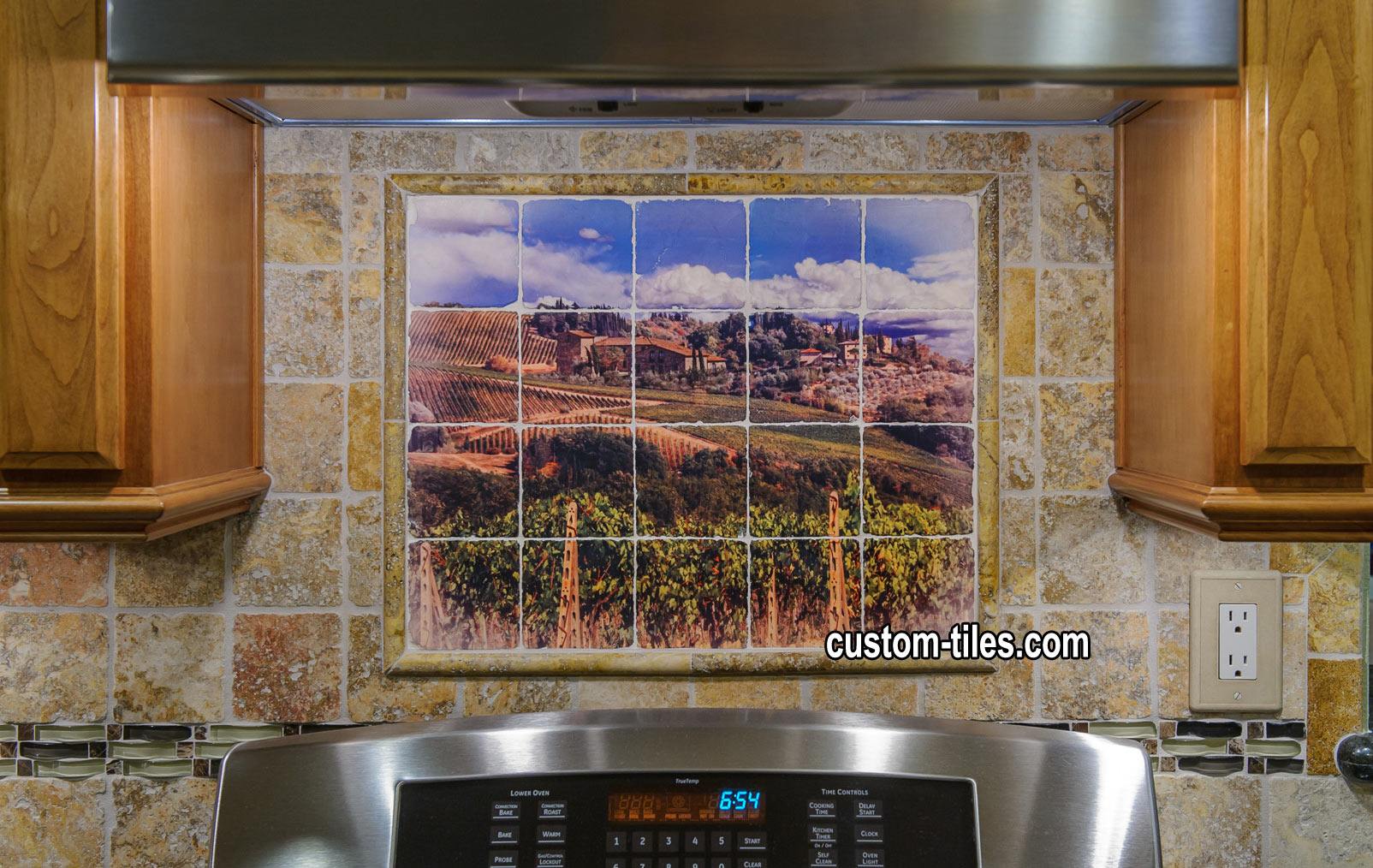 Mural tile backsplash