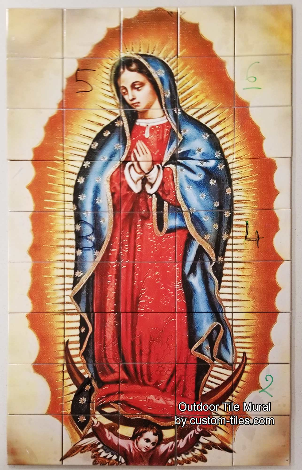The Virgin, Our Lady of Guadalupe, Outdoor Tile Mural