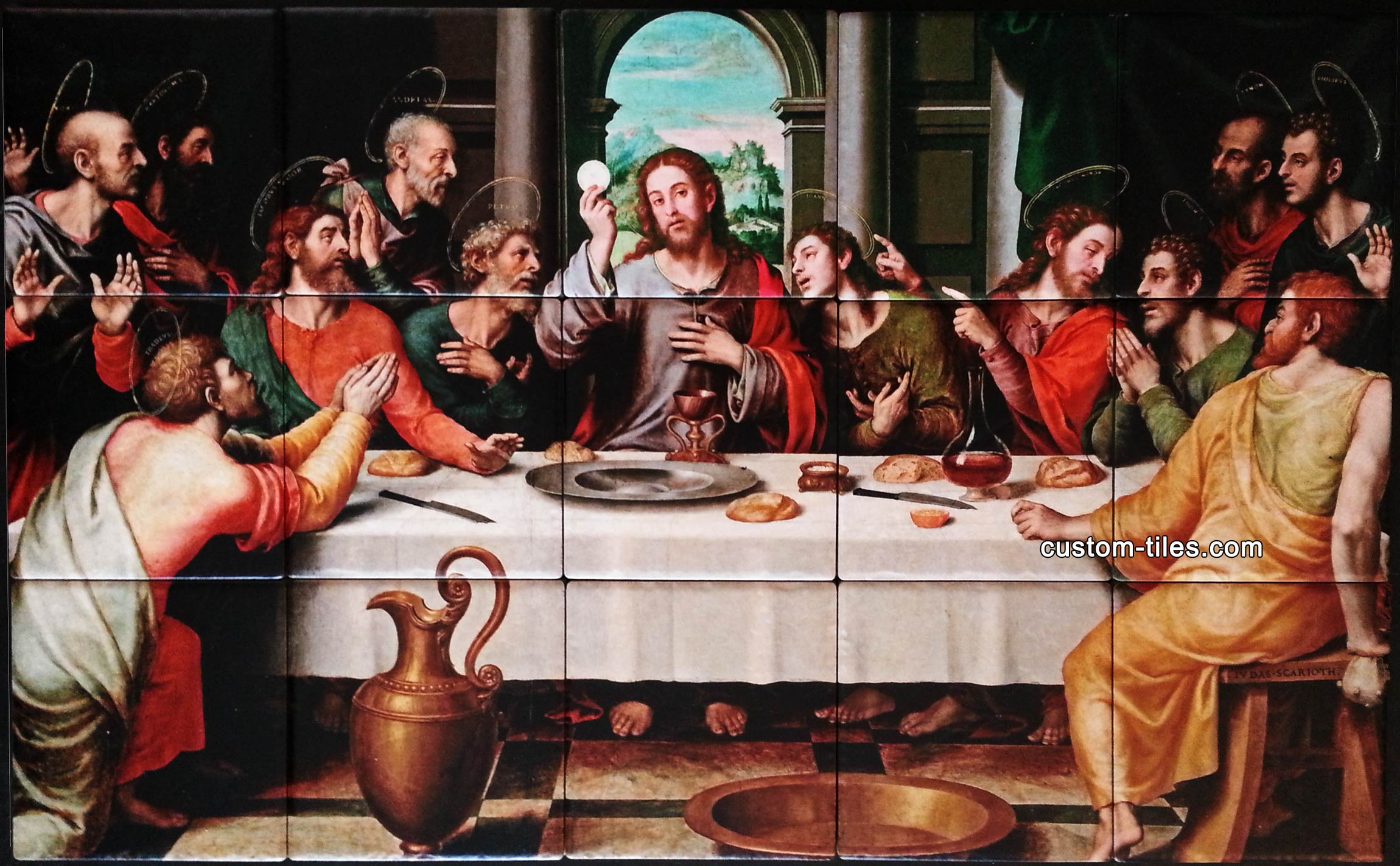 Last Supper Eucharist Tumbled Tile Porcelain Mural