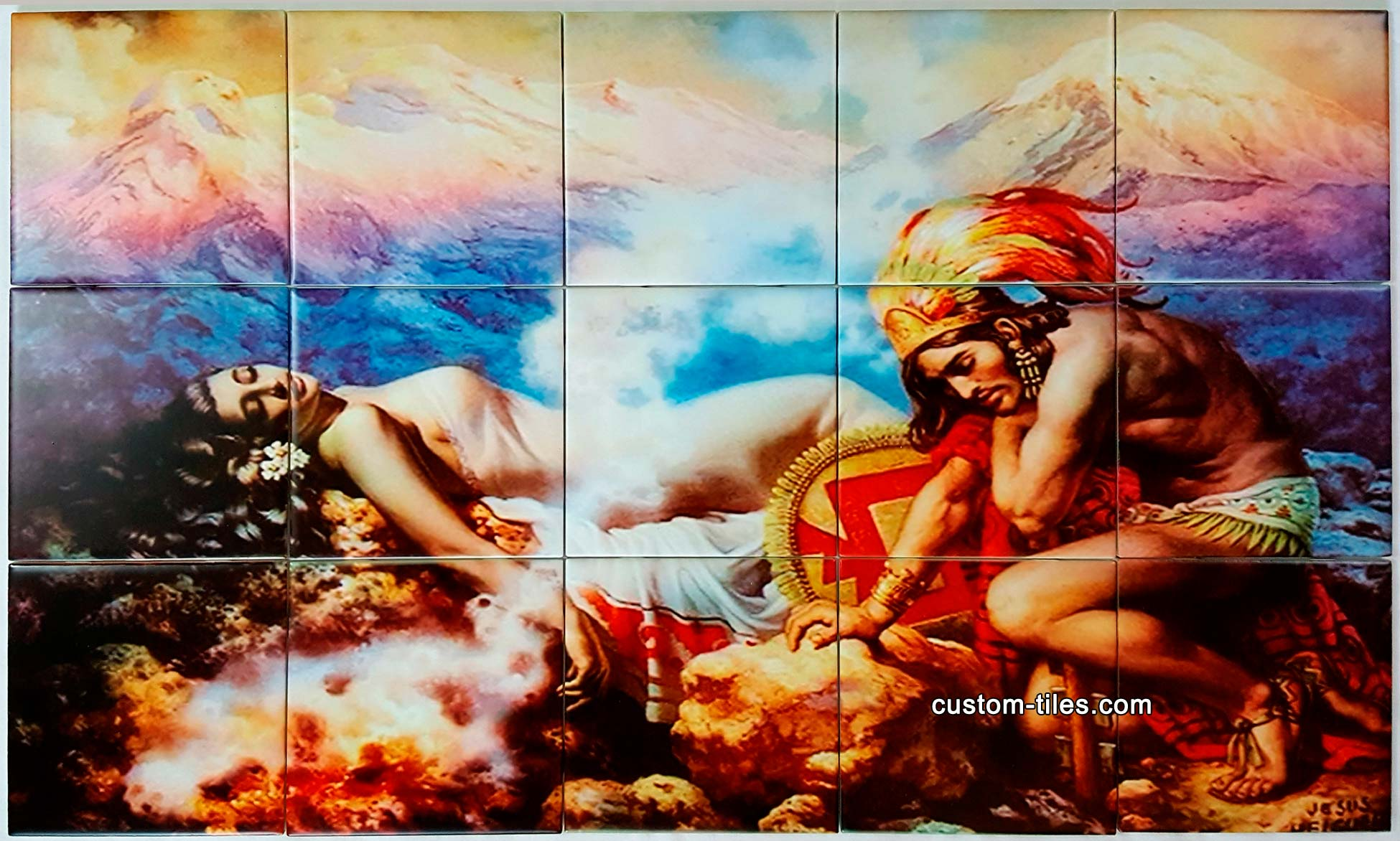 Legend of Volcanos Painting Custom Tile Backsplash Mural