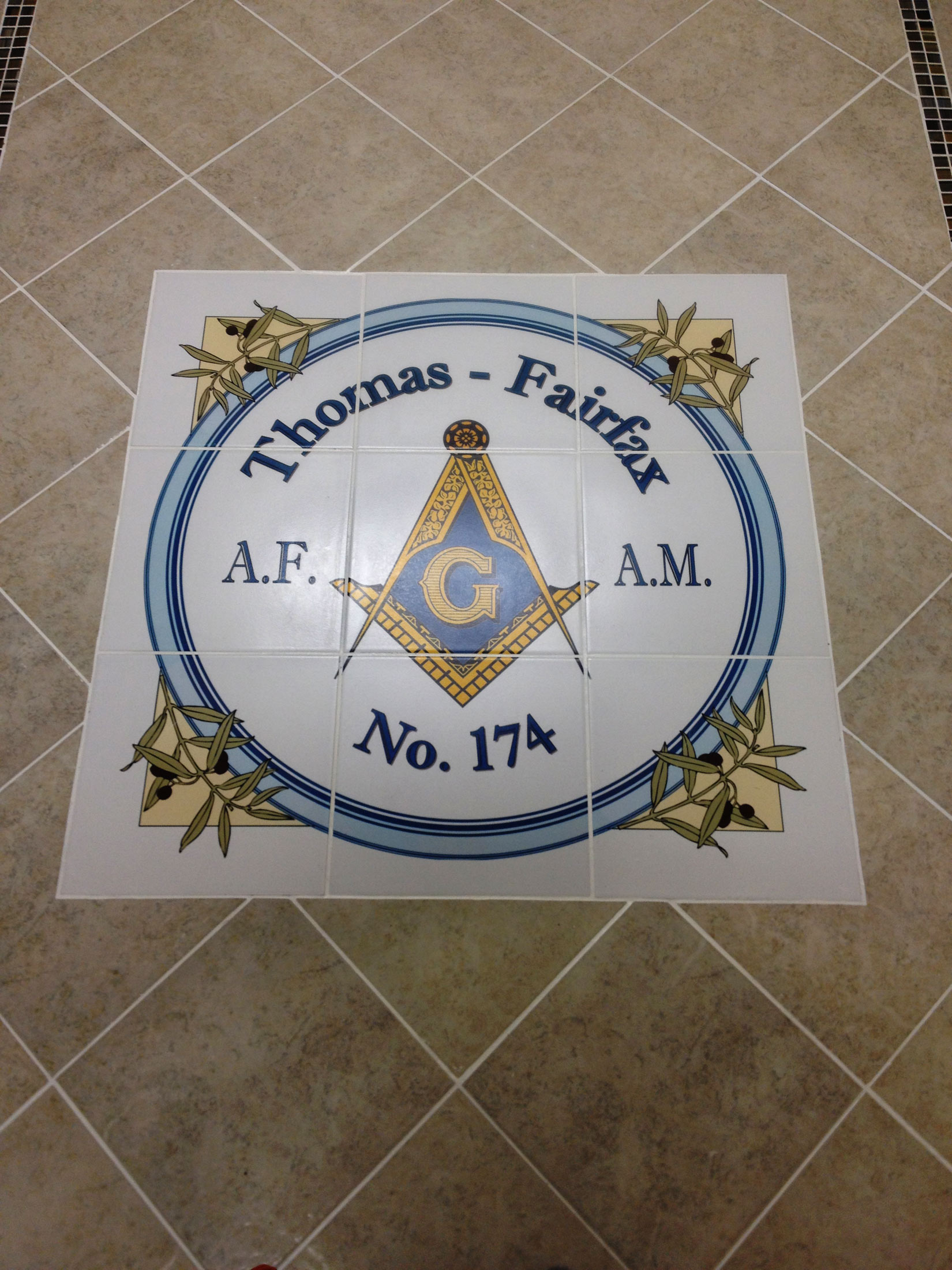 Floor Tile Logo Medallion Masons Hall