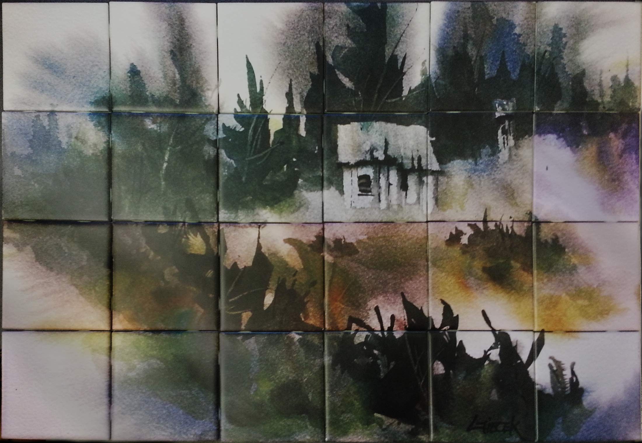 Painted Cabin Ceramic Tile Mural