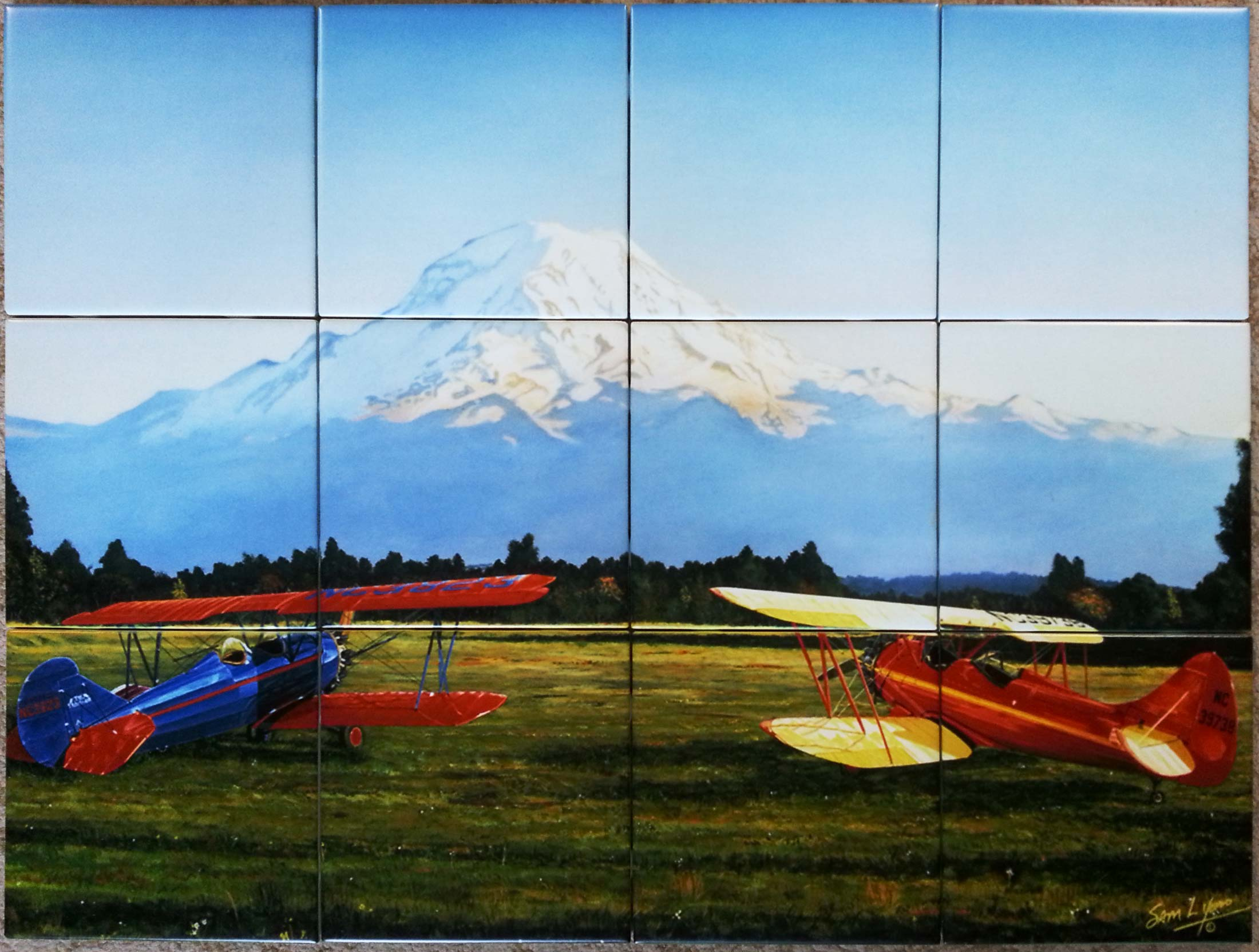 Painting Airplanes Mountain Custom Tile Mural Backsplash