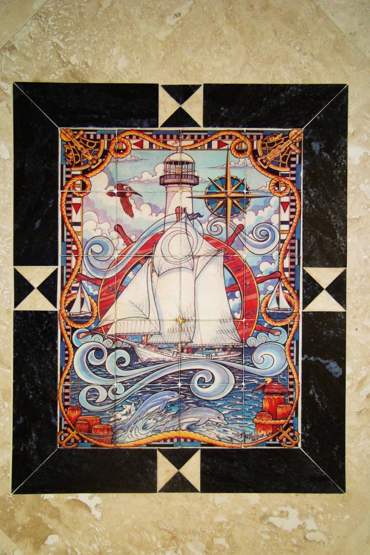 Custom tiles and tile mural pictures custom tile murals for Decorative tile mural