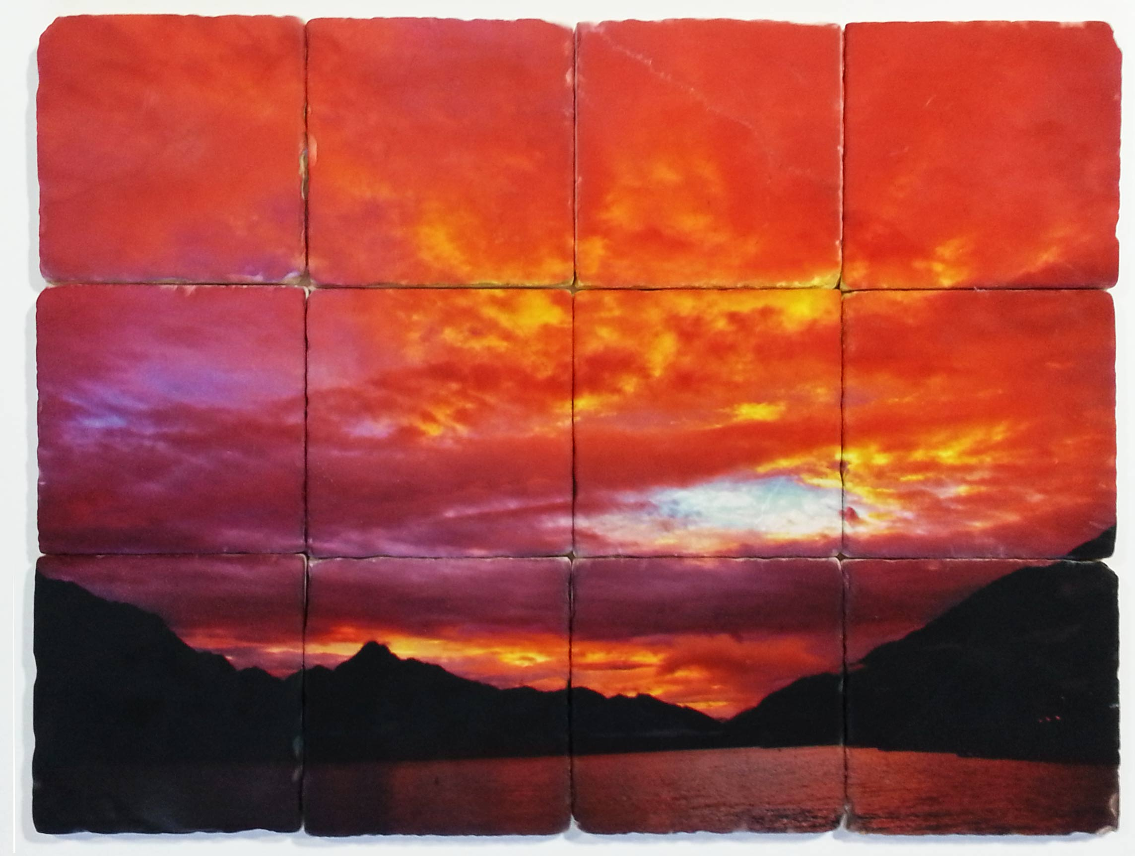 Sunset Tumbled Marble Tile Backsplash