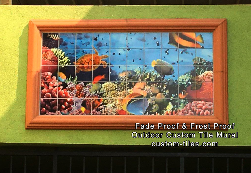 Tropical Fish & Coral Outdoor Tile Mural