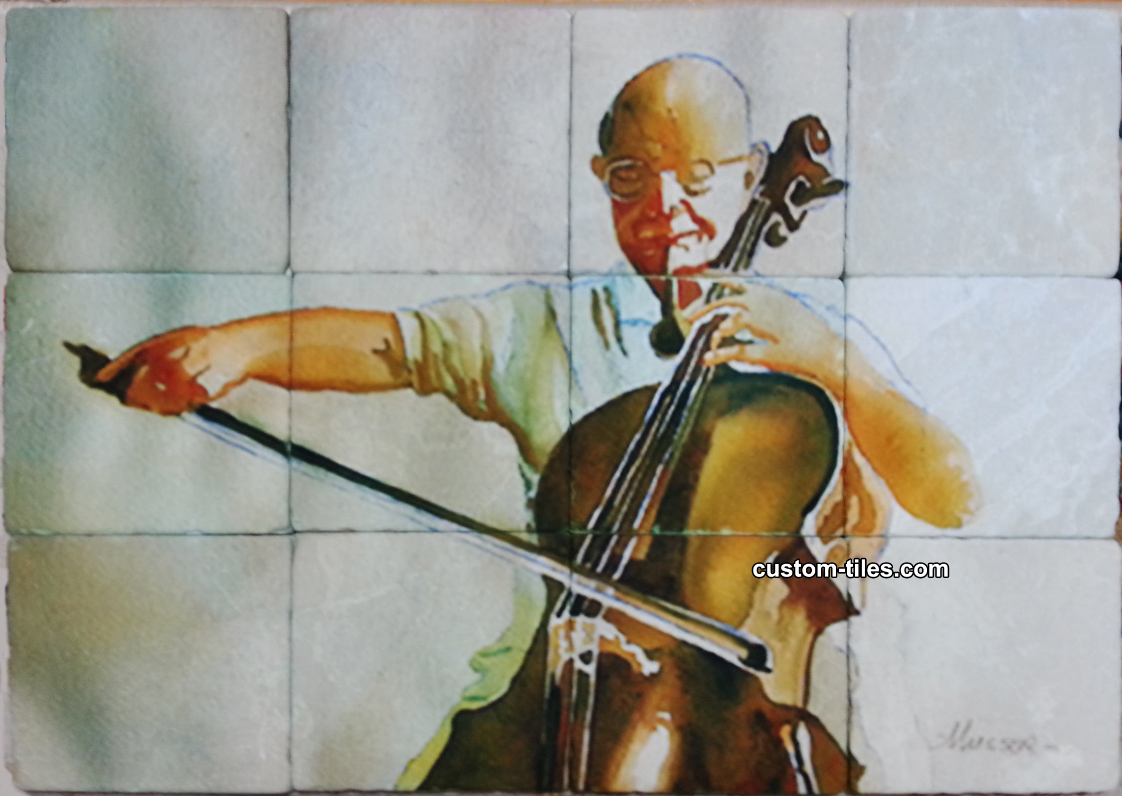 Tumbled Marble Art Tile Cellist