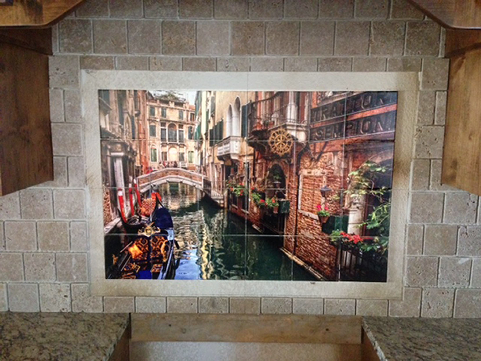 Venice Gondolas Tile Backsplash