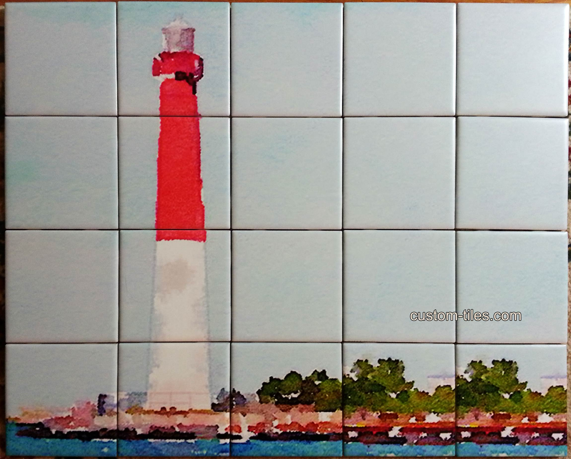 Watercolor Lighthouse on Ceramic Tile Mural