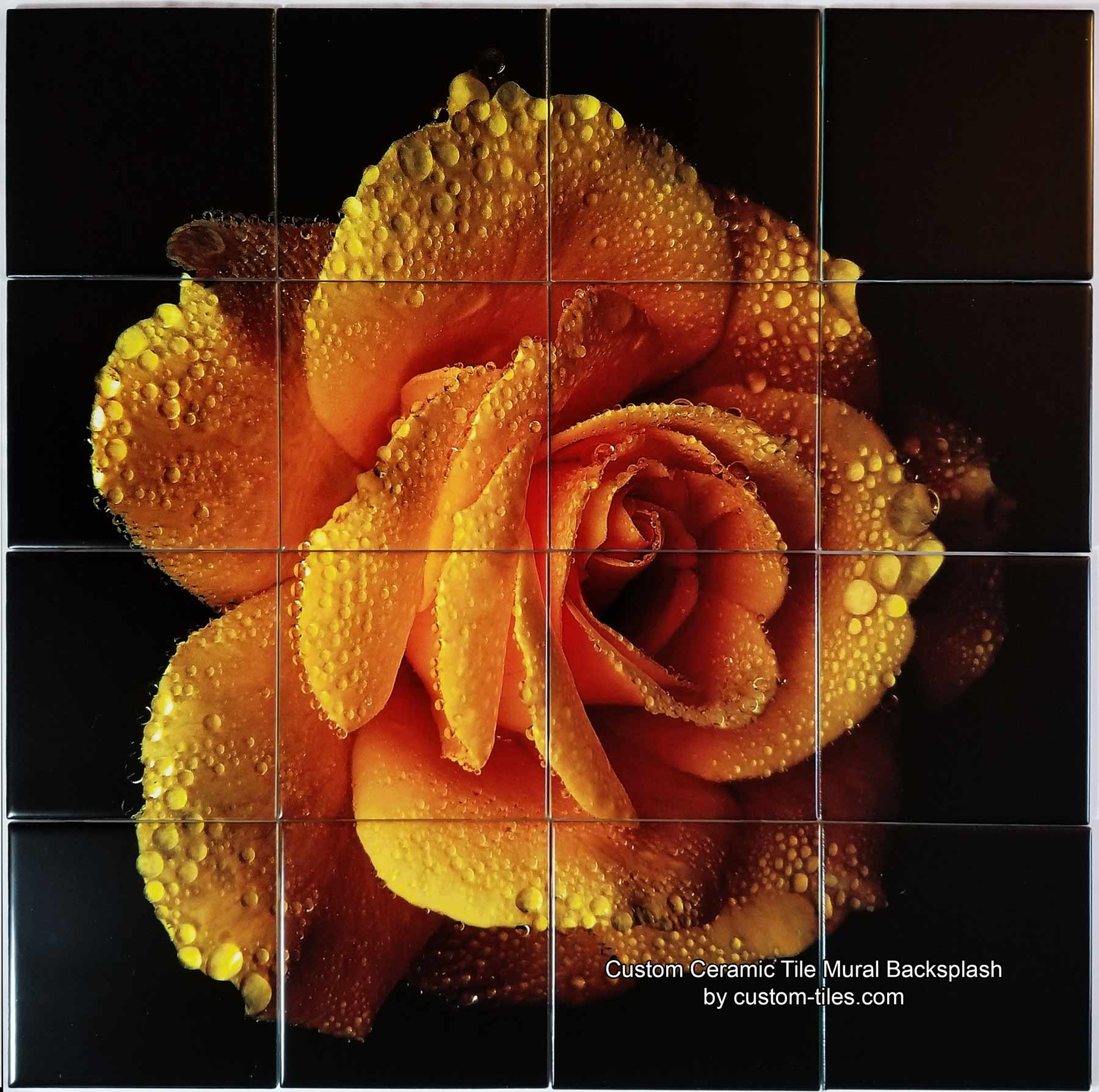 Yellow Rose Custom Ceramic Tile Mural Backsplash