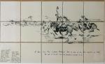 Cowboy Sketch Ceramic Backsplash Tile