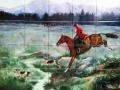 Fox Hunt Ceramic Tile Backsplash Mural