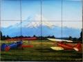 Painting Airplanes Mountain Custom Tile Mural Backsplash