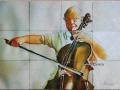 Tumbled Marble Art Tile Cellist
