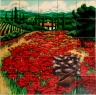 Tuscan Poppies Ceramic Tile Kitchen Backsplash