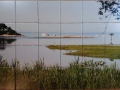 Yacht Shoreline Photo Tile Mural