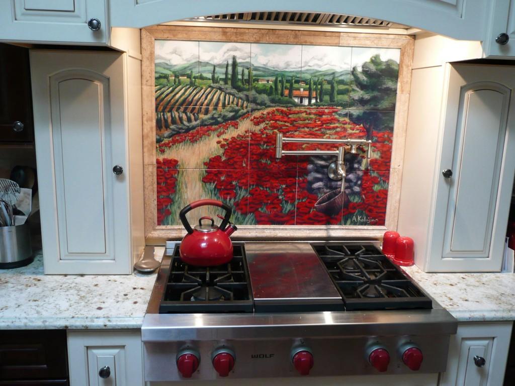 Custom mural backsplash tuscan custom tile and tile murals for Custom tile mural
