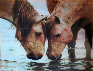 Glass Tile Mural Two Horses