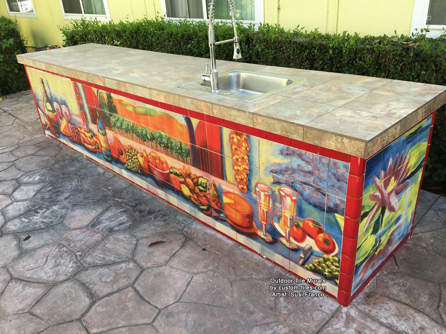 outdoor kitchen tile splashback outdoor kitchen tile murals ideas custom tiles